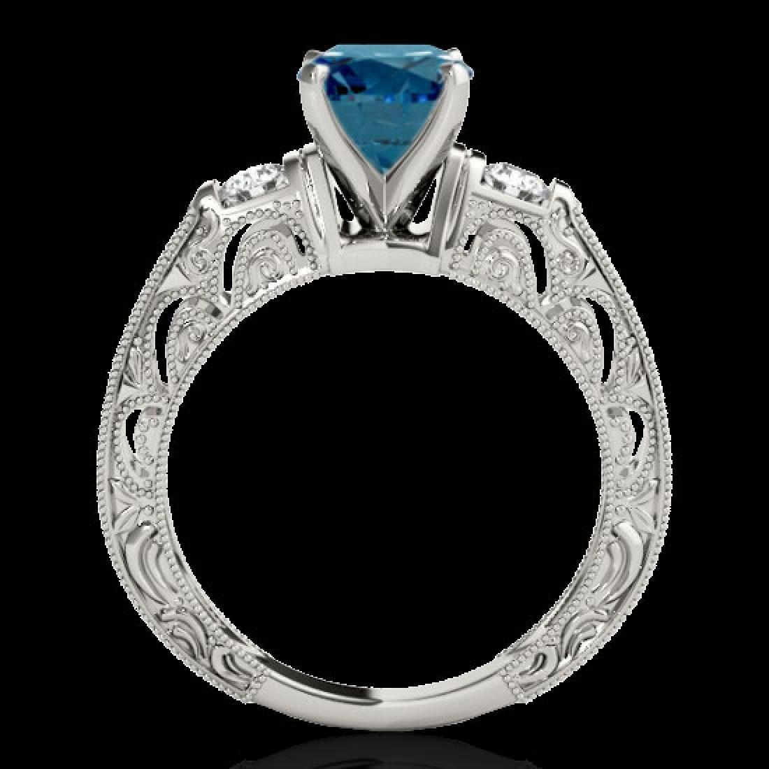 1.63 CTW SI Certified Blue Diamond Solitaire Antique - 2