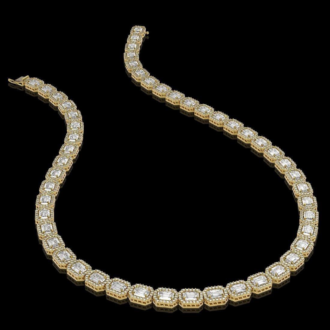 33.10 CTW Emerald Cut Diamond Designer Necklace 18K - 2