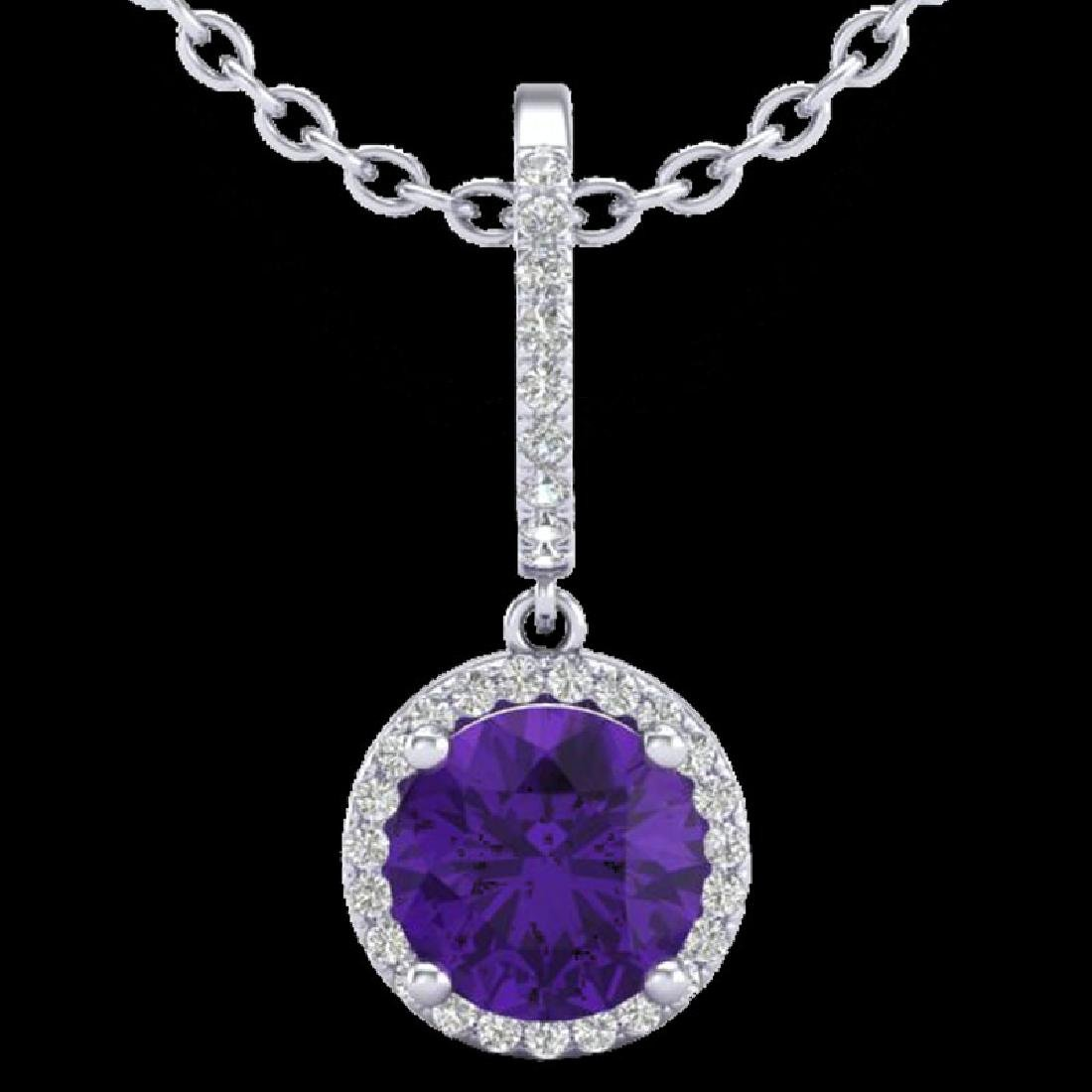2 CTW Amethyst & Micro Pave VS/SI Diamond Necklace - 2