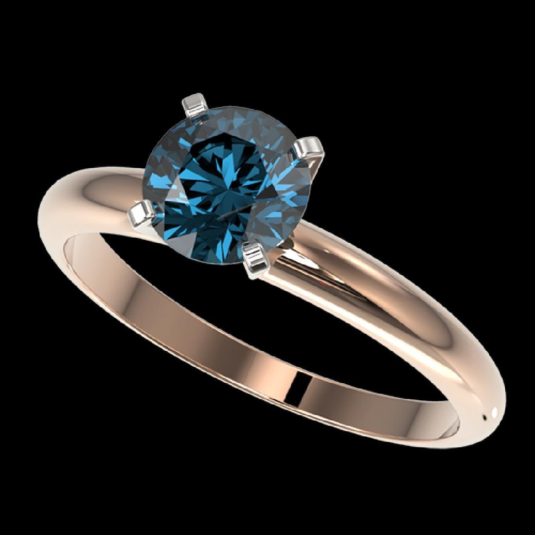1.25 CTW Certified Intense Blue SI Diamond Solitaire
