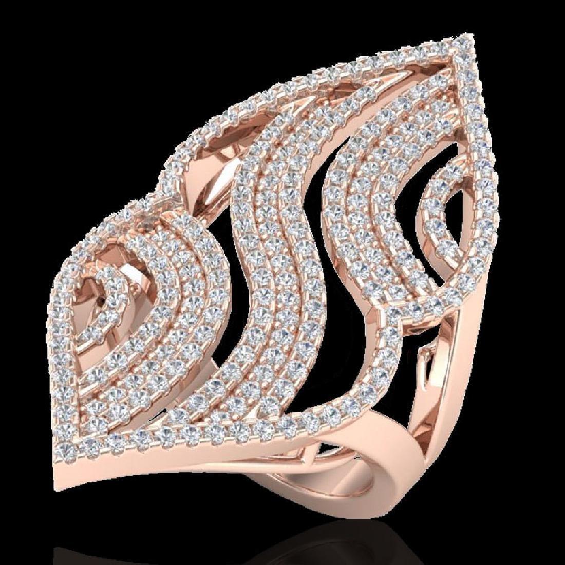 2 CTW Micro Pave VS/SI Diamond Designer Ring 14K Rose