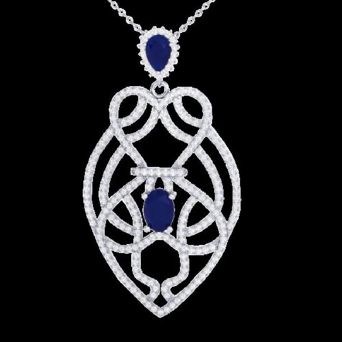 3.50 CTW Sapphire & Micro VS/SI Diamond Heart Necklace