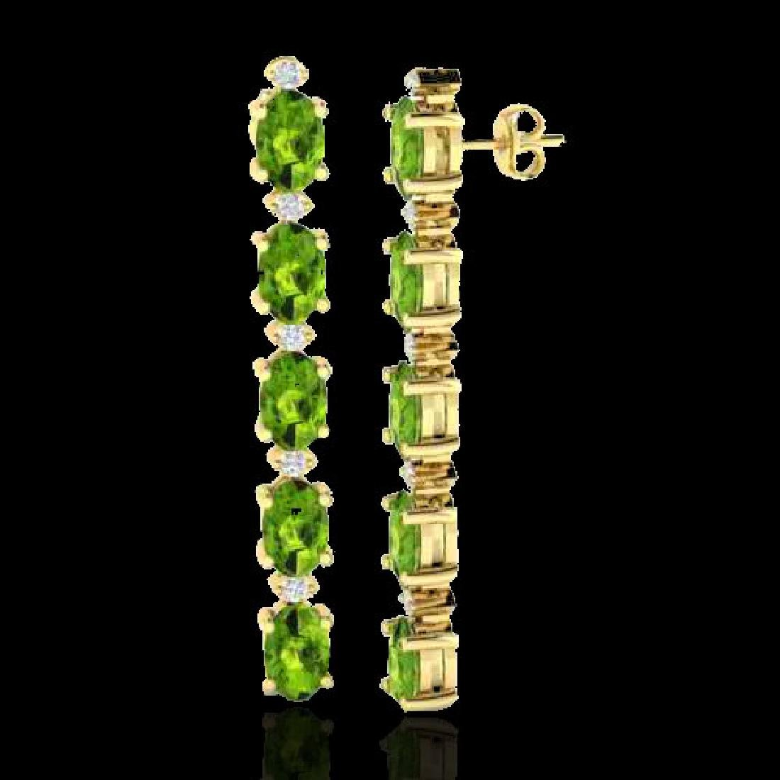 15.47 CTW Peridot & VS/SI Certified Diamond Earrings - 2