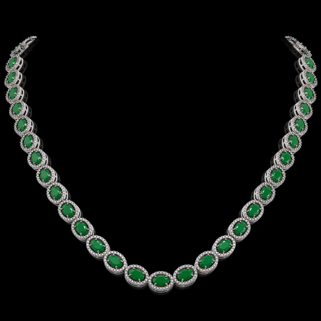 34.11 CTW Emerald & Diamond Halo Necklace 10K White