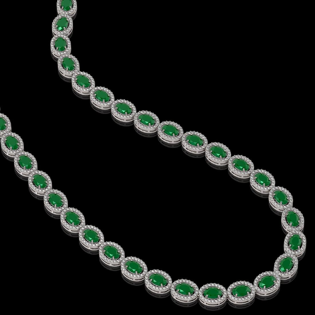 34.11 CTW Emerald & Diamond Halo Necklace 10K White - 2