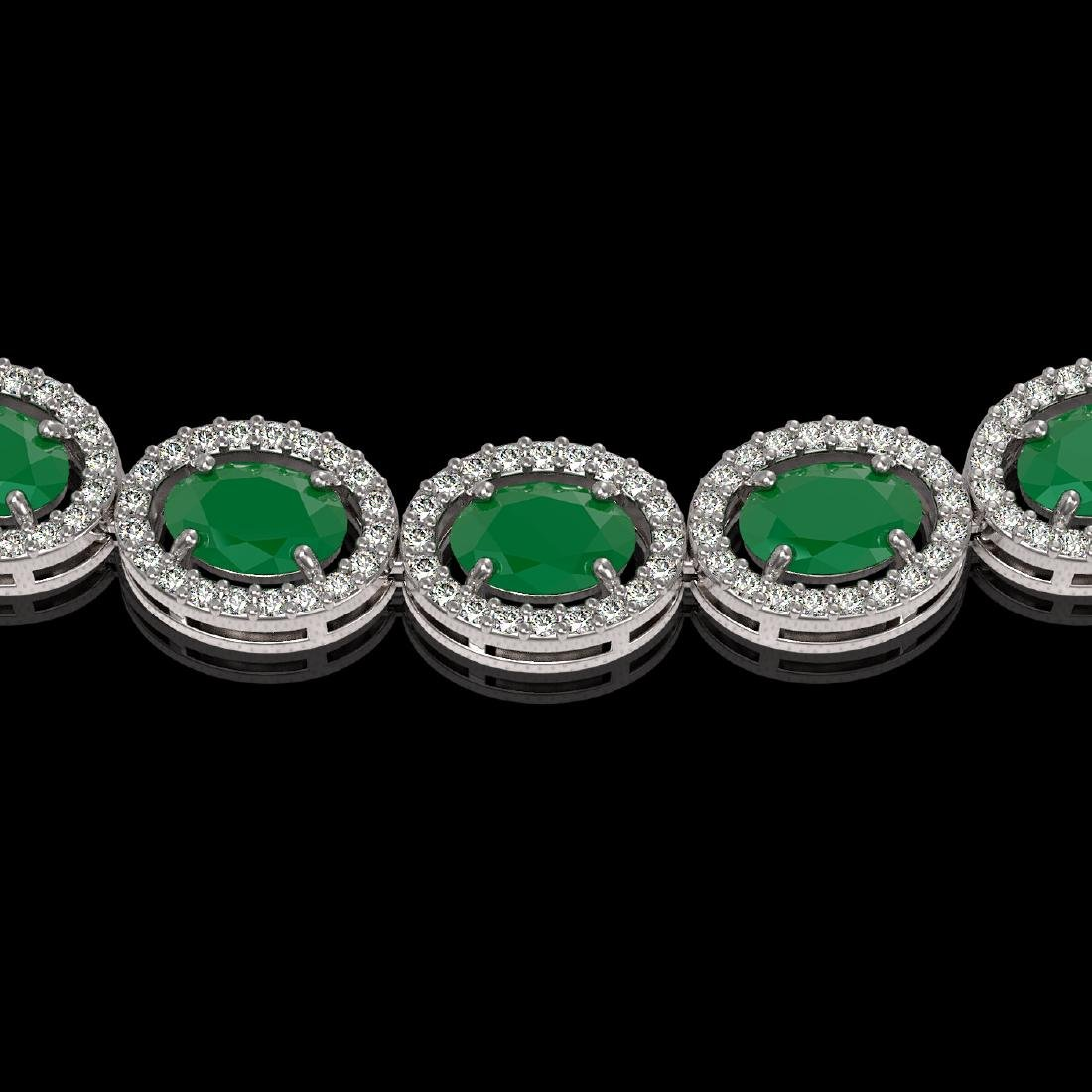 34.11 CTW Emerald & Diamond Halo Necklace 10K White - 3