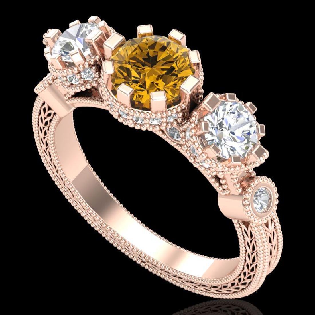 1.75 CTW Intense Fancy Yellow Diamond Art Deco 3 Stone