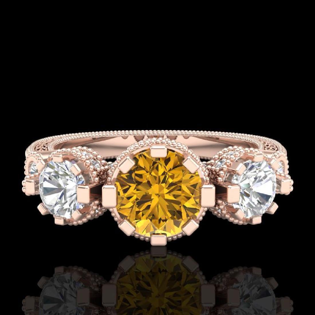 1.75 CTW Intense Fancy Yellow Diamond Art Deco 3 Stone - 2