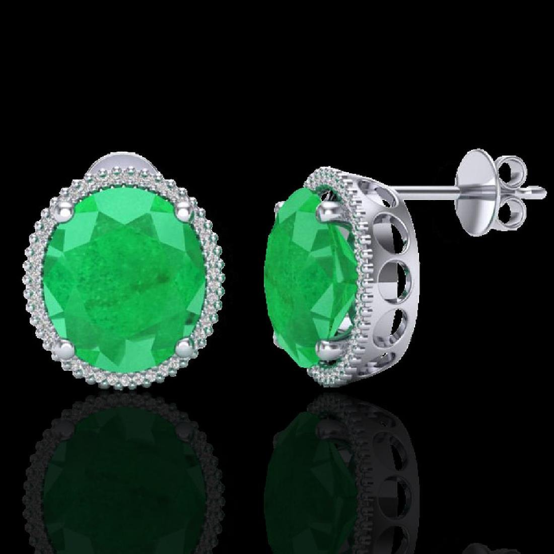 25 CTW Emerald & Micro Pave VS/SI Diamond Halo Earrings - 2