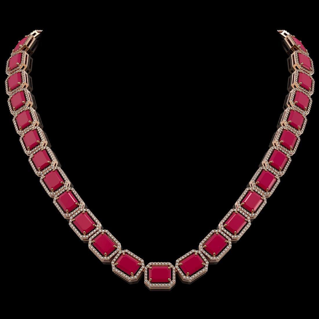 84.94 CTW Ruby & Diamond Halo Necklace 10K Rose Gold