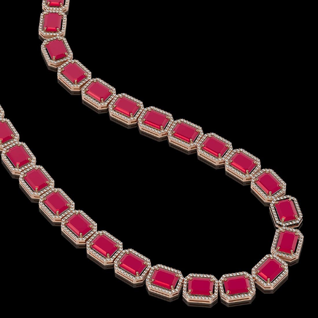 84.94 CTW Ruby & Diamond Halo Necklace 10K Rose Gold - 2