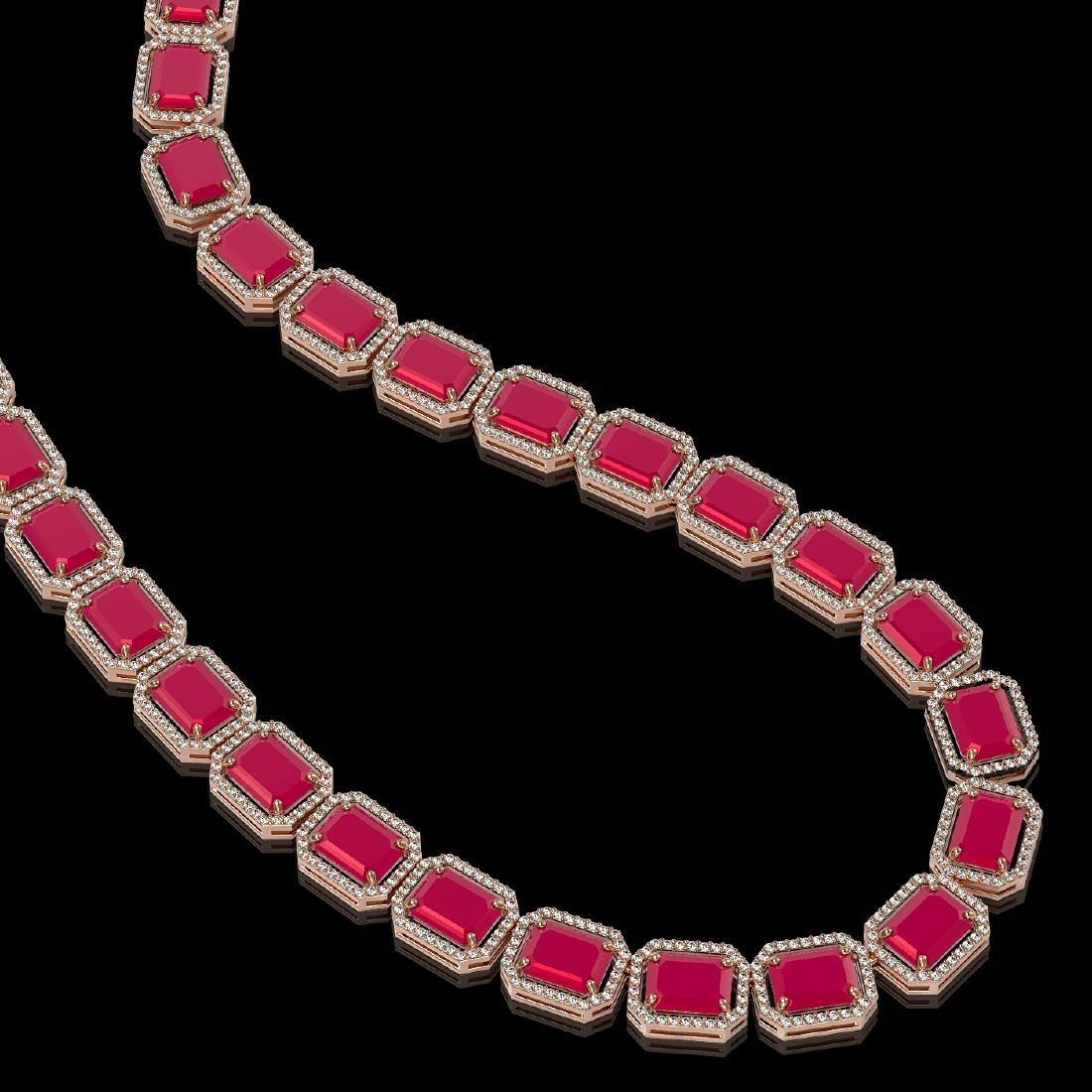84.94 CTW Ruby & Diamond Halo Necklace 10K Rose Gold - 2
