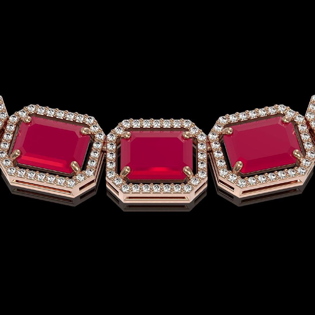 84.94 CTW Ruby & Diamond Halo Necklace 10K Rose Gold - 3