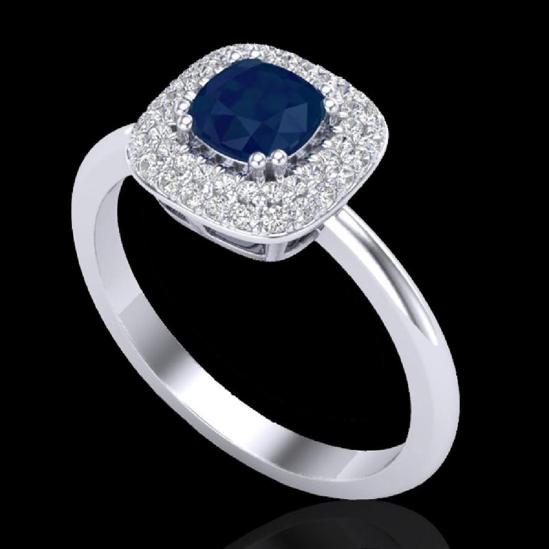 1.16 CTW Sapphire & Micro VS/SI Diamond Ring Double