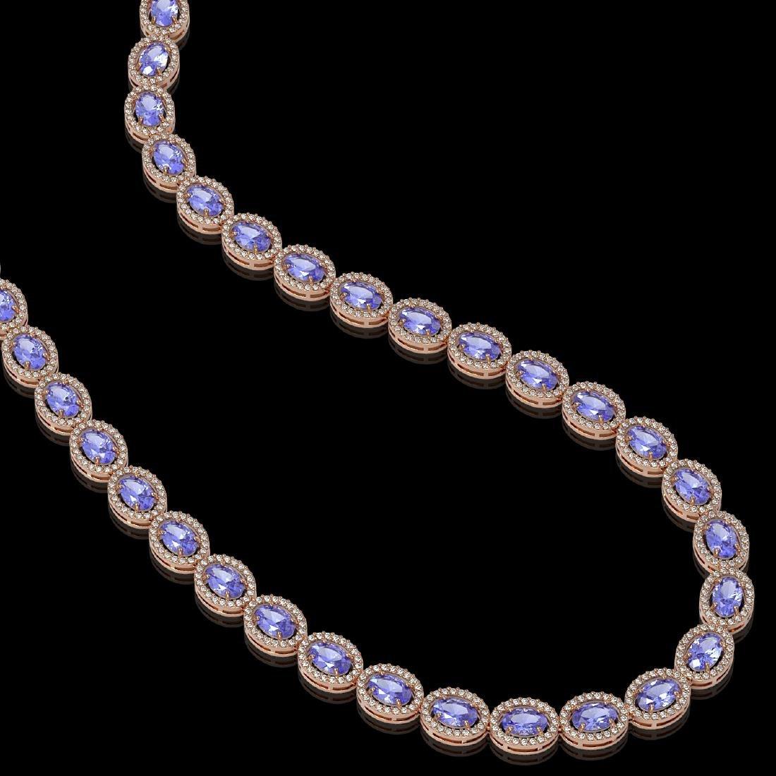 31.96 CTW Tanzanite & Diamond Halo Necklace 10K Rose - 2
