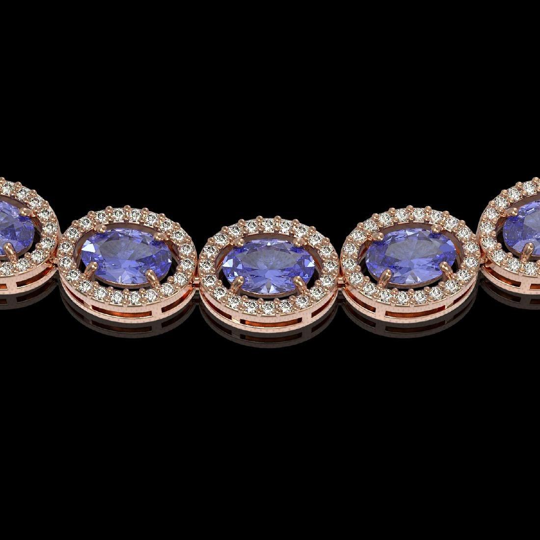 31.96 CTW Tanzanite & Diamond Halo Necklace 10K Rose - 3