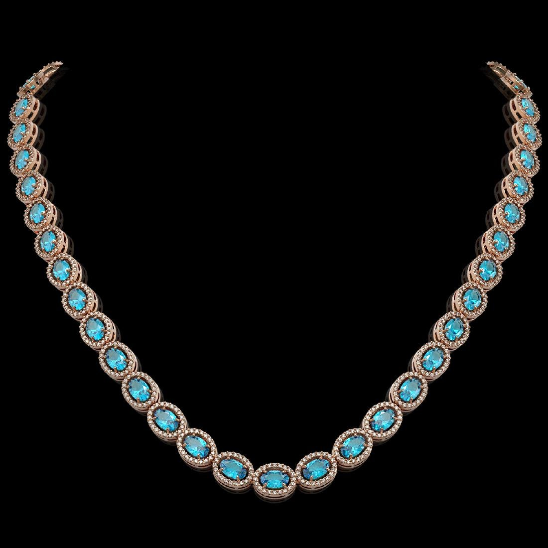 33.25 CTW Swiss Topaz & Diamond Halo Necklace 10K Rose