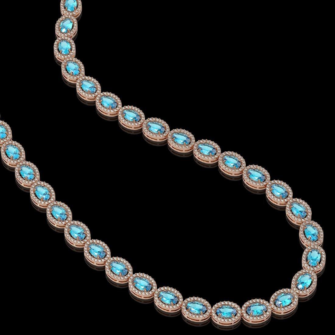 33.25 CTW Swiss Topaz & Diamond Halo Necklace 10K Rose - 2