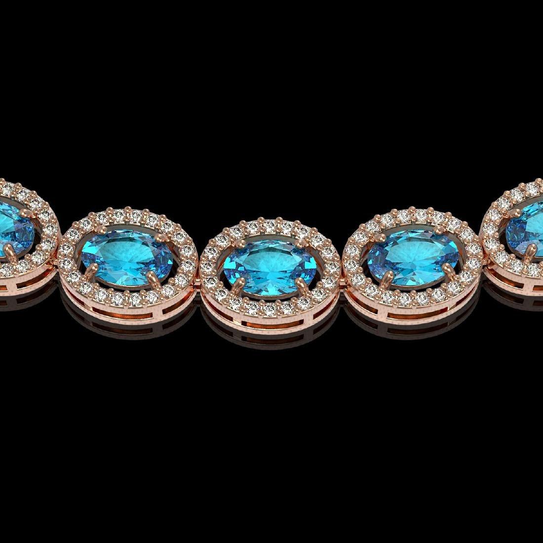 33.25 CTW Swiss Topaz & Diamond Halo Necklace 10K Rose - 3