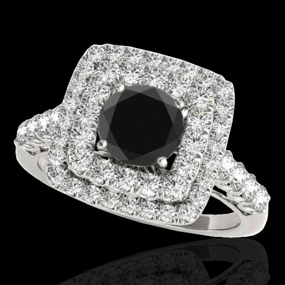 2.3 CTW Certified VS Black Diamond Solitaire Halo Ring