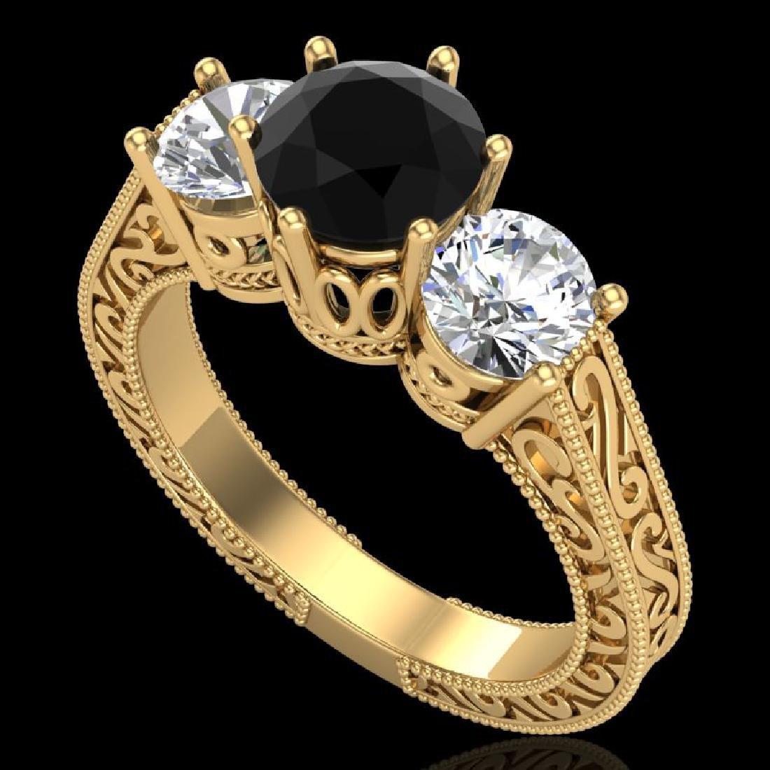 2.01 CTW Fancy Black Diamond Solitaire Art Deco 3 Stone