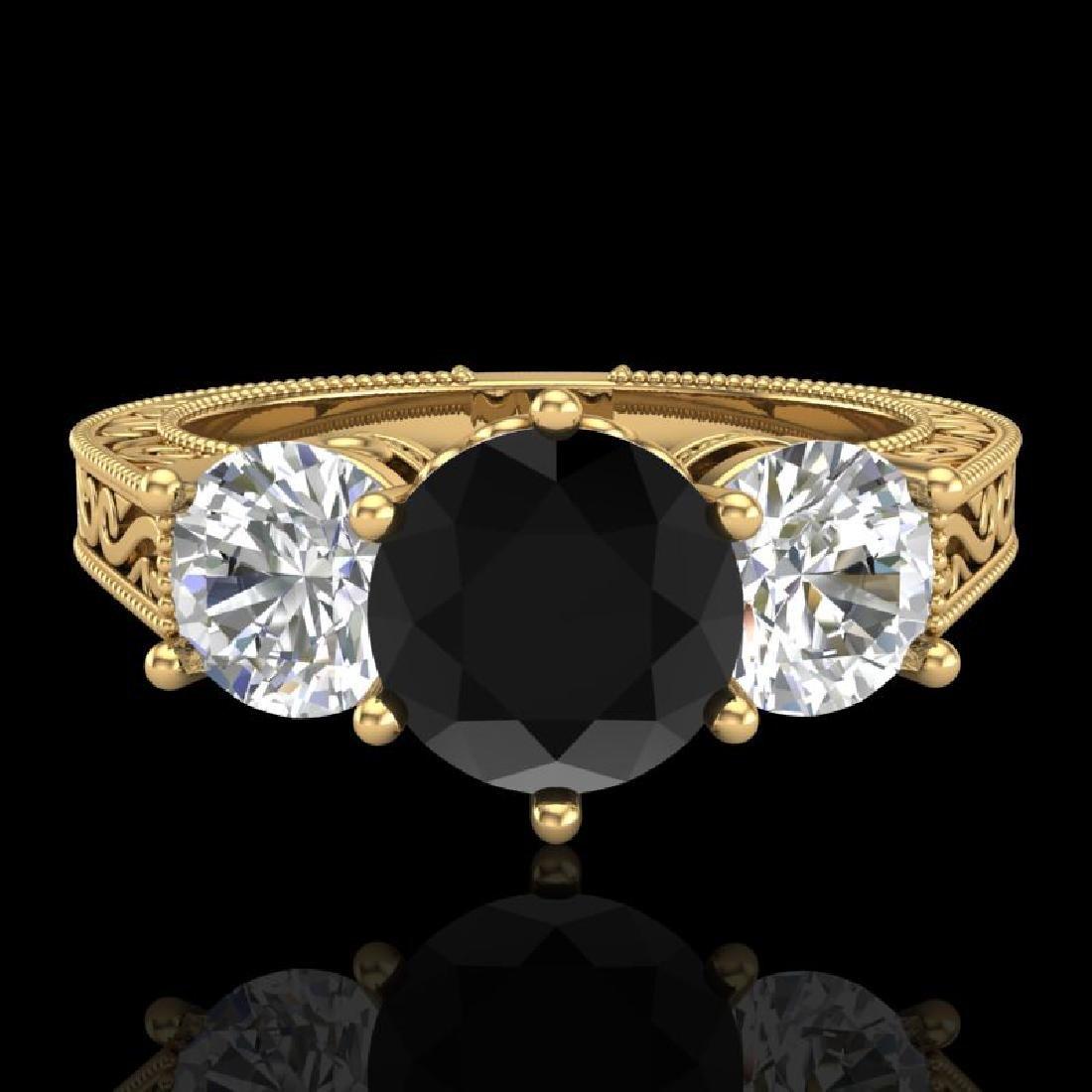 2.01 CTW Fancy Black Diamond Solitaire Art Deco 3 Stone - 2