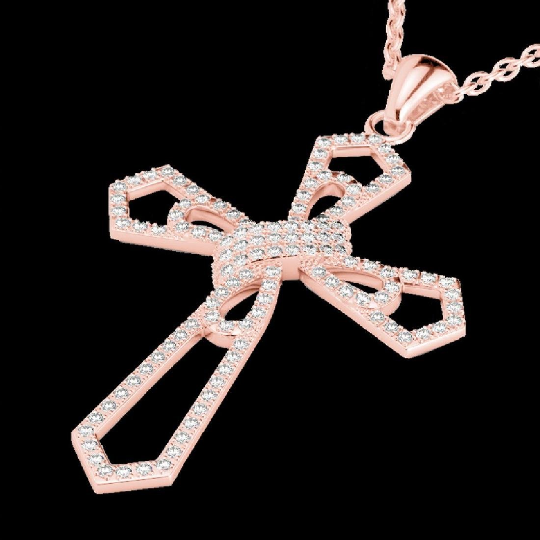 1 CTW Micro Pave VS/SI Diamond Cross Necklace 14K Rose