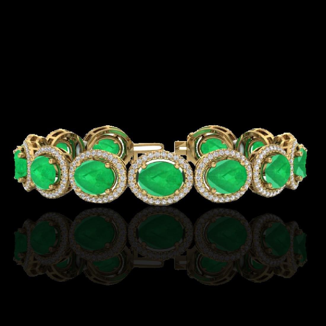 30 CTW Emerald & Micro Pave VS/SI Diamond Bracelet 10K