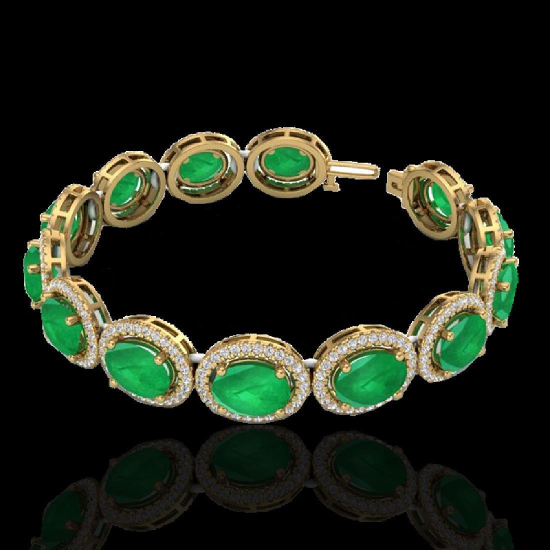 30 CTW Emerald & Micro Pave VS/SI Diamond Bracelet 10K - 2