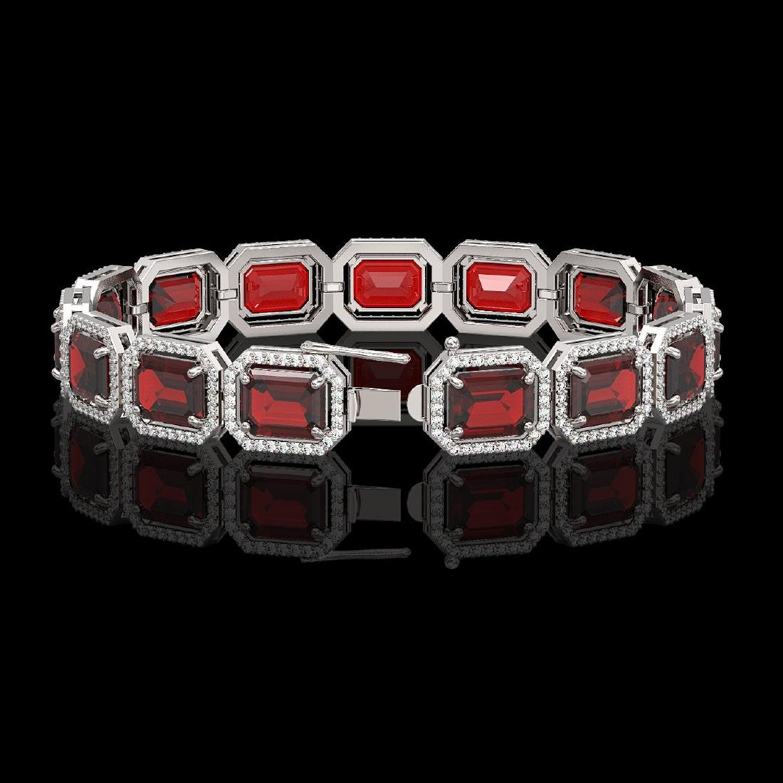 33.41 CTW Garnet & Diamond Halo Bracelet 10K White Gold - 2