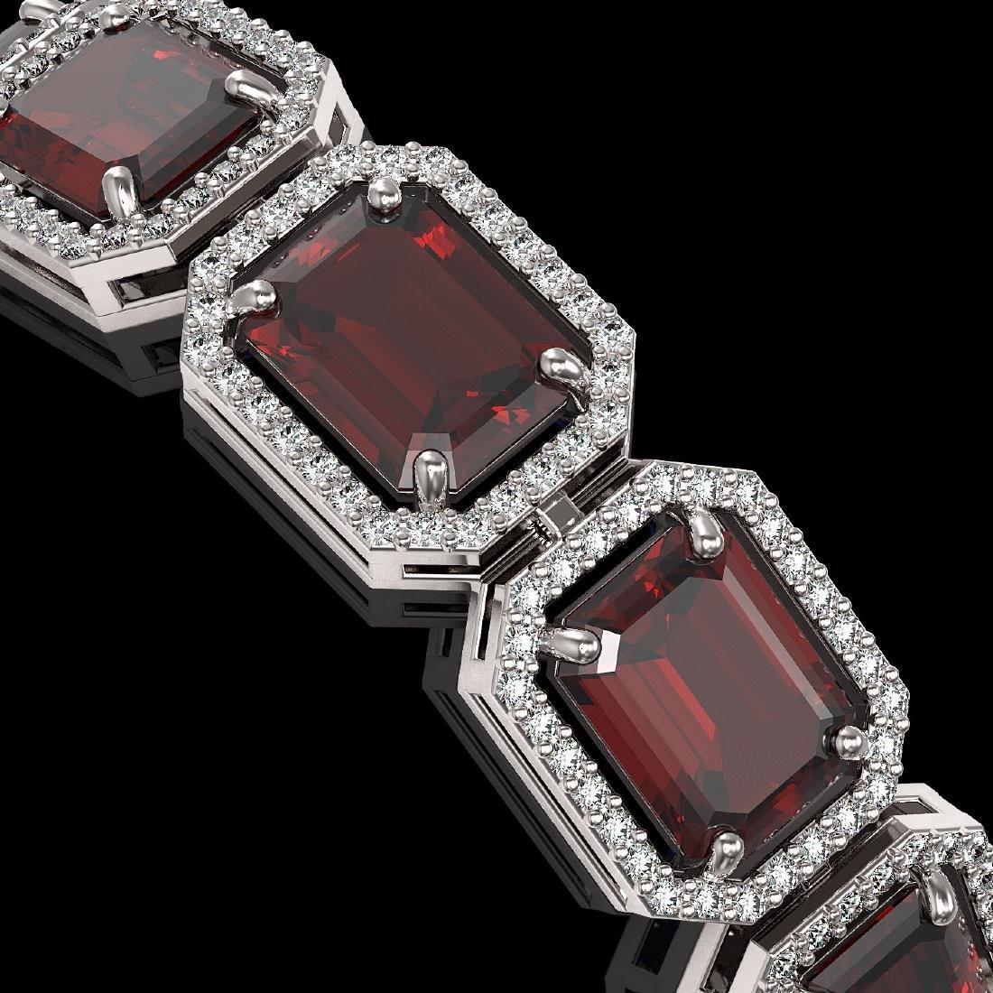 33.41 CTW Garnet & Diamond Halo Bracelet 10K White Gold - 3