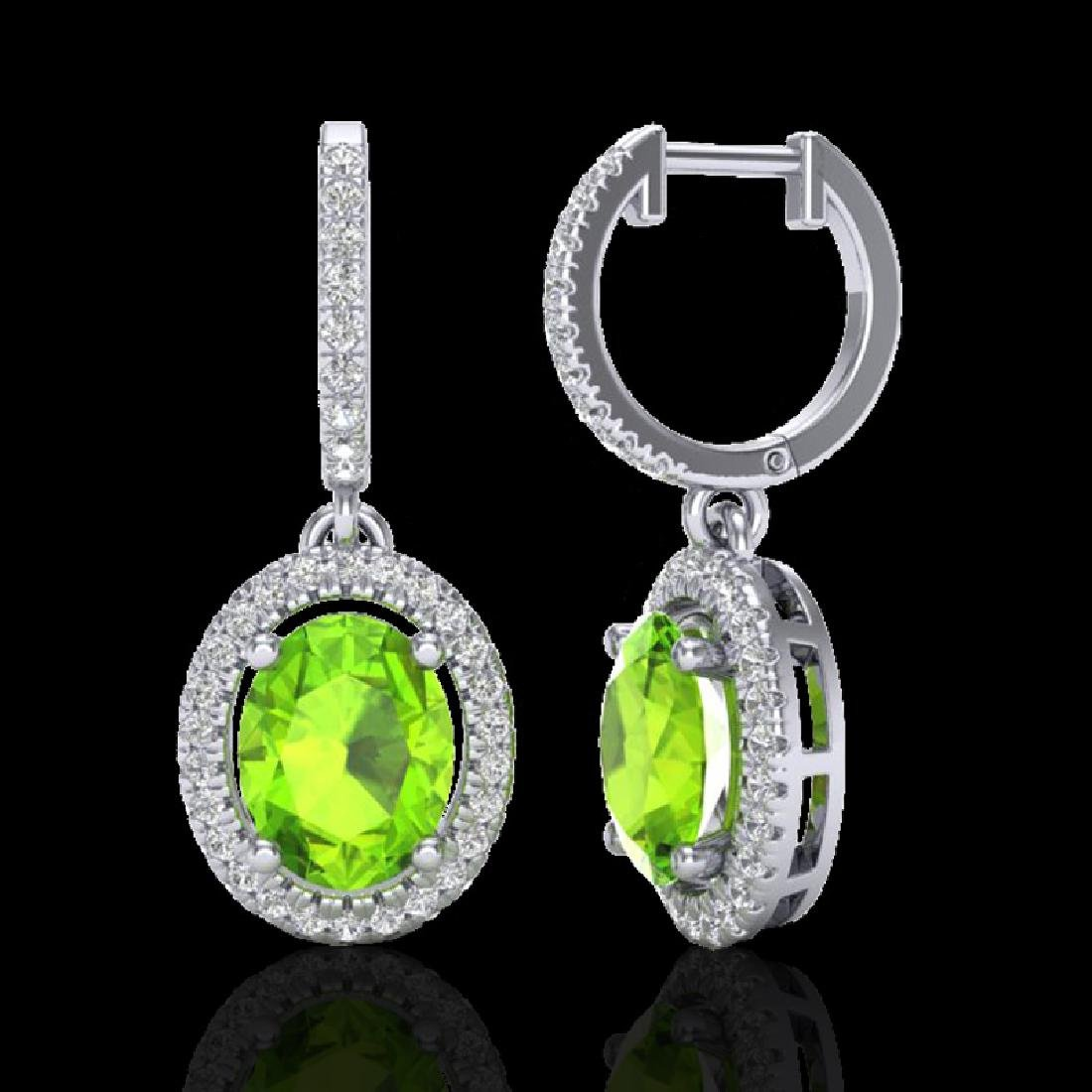3.75 CTW Peridot & Micro Pave VS/SI Diamond Earrings - 2