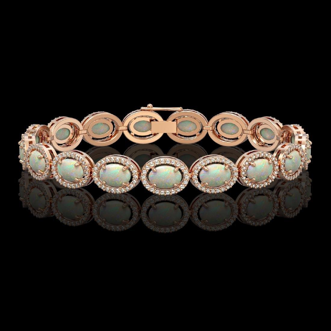 14.24 CTW Opal & Diamond Halo Bracelet 10K Rose Gold