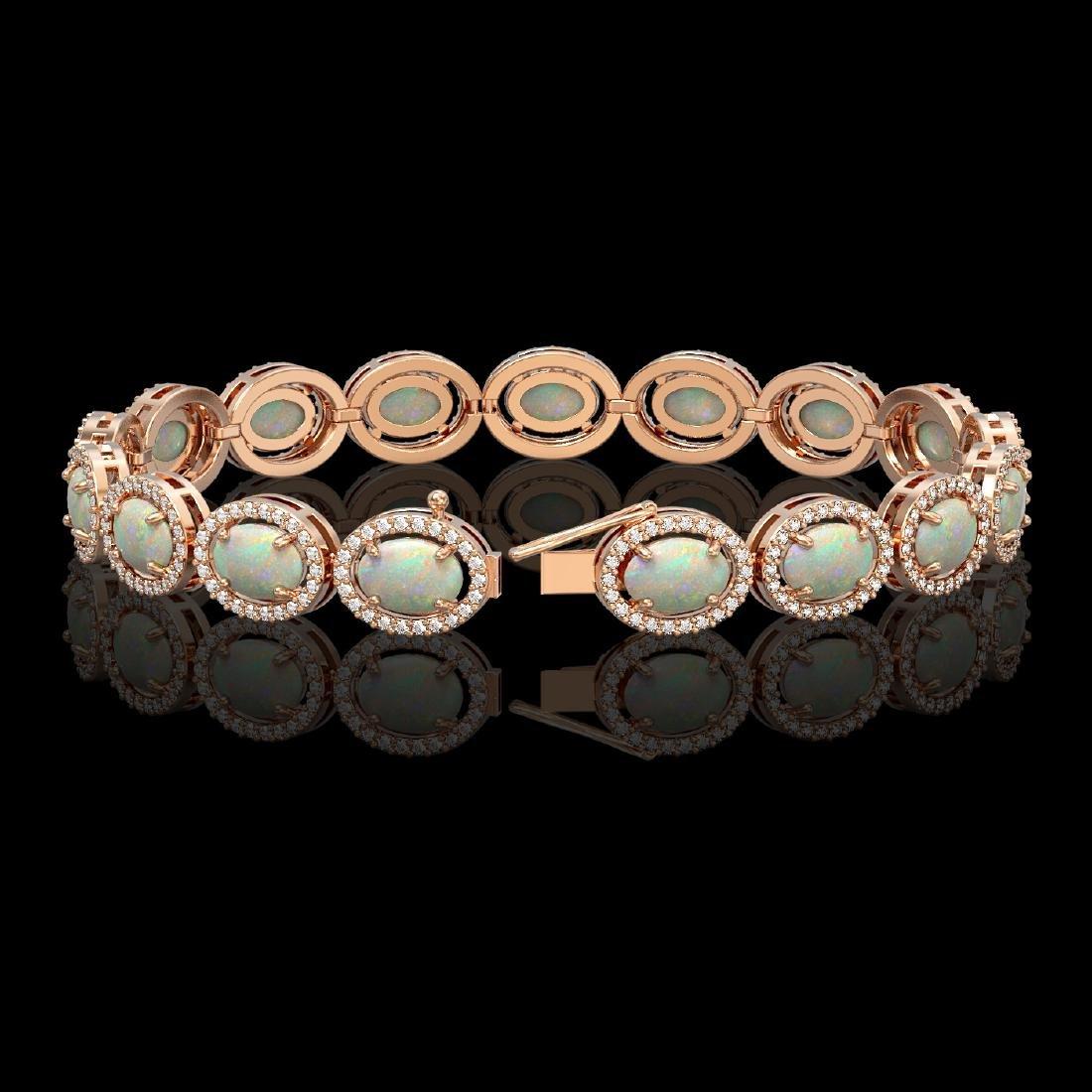 14.24 CTW Opal & Diamond Halo Bracelet 10K Rose Gold - 2
