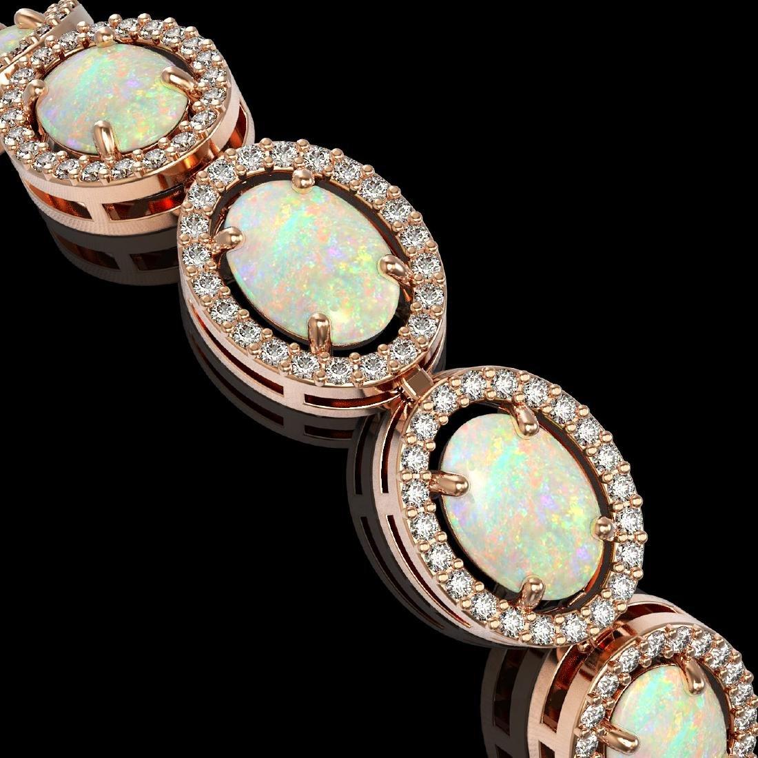 14.24 CTW Opal & Diamond Halo Bracelet 10K Rose Gold - 3