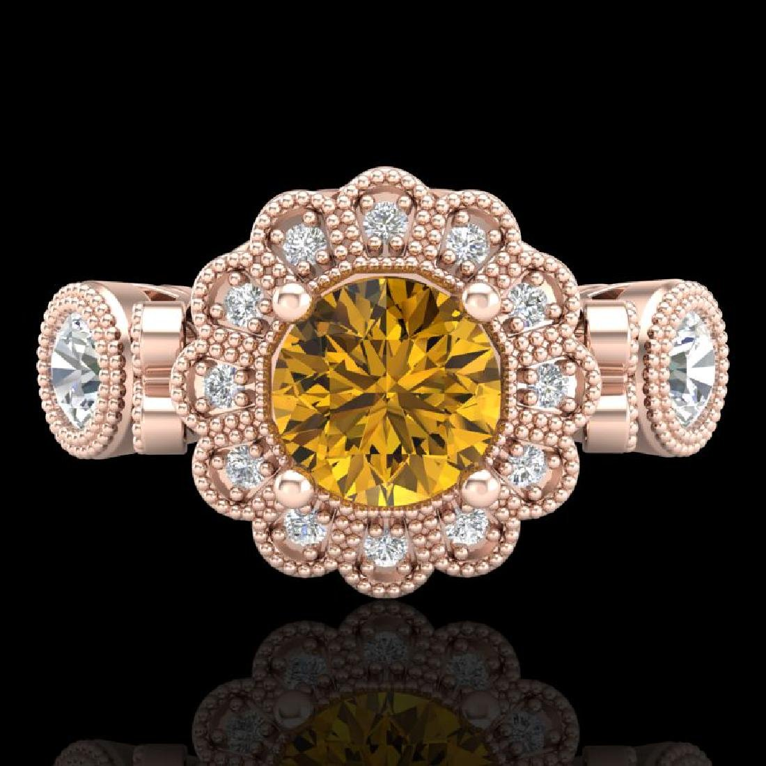 1.5 CTW Intense Fancy Yellow Diamond Art Deco 3 Stone - 2