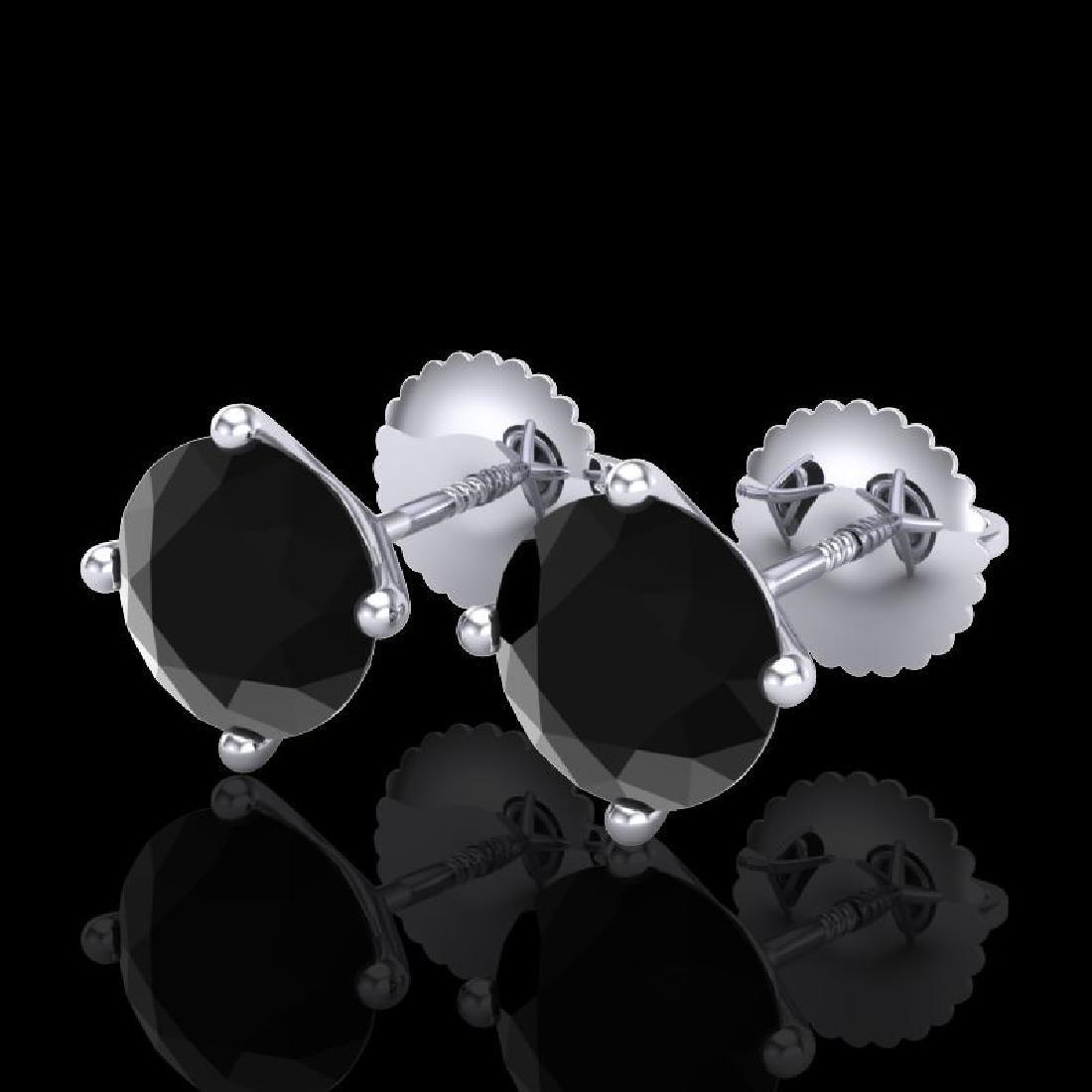 2.5 CTW Fancy Black Diamond Solitaire Art Deco Stud