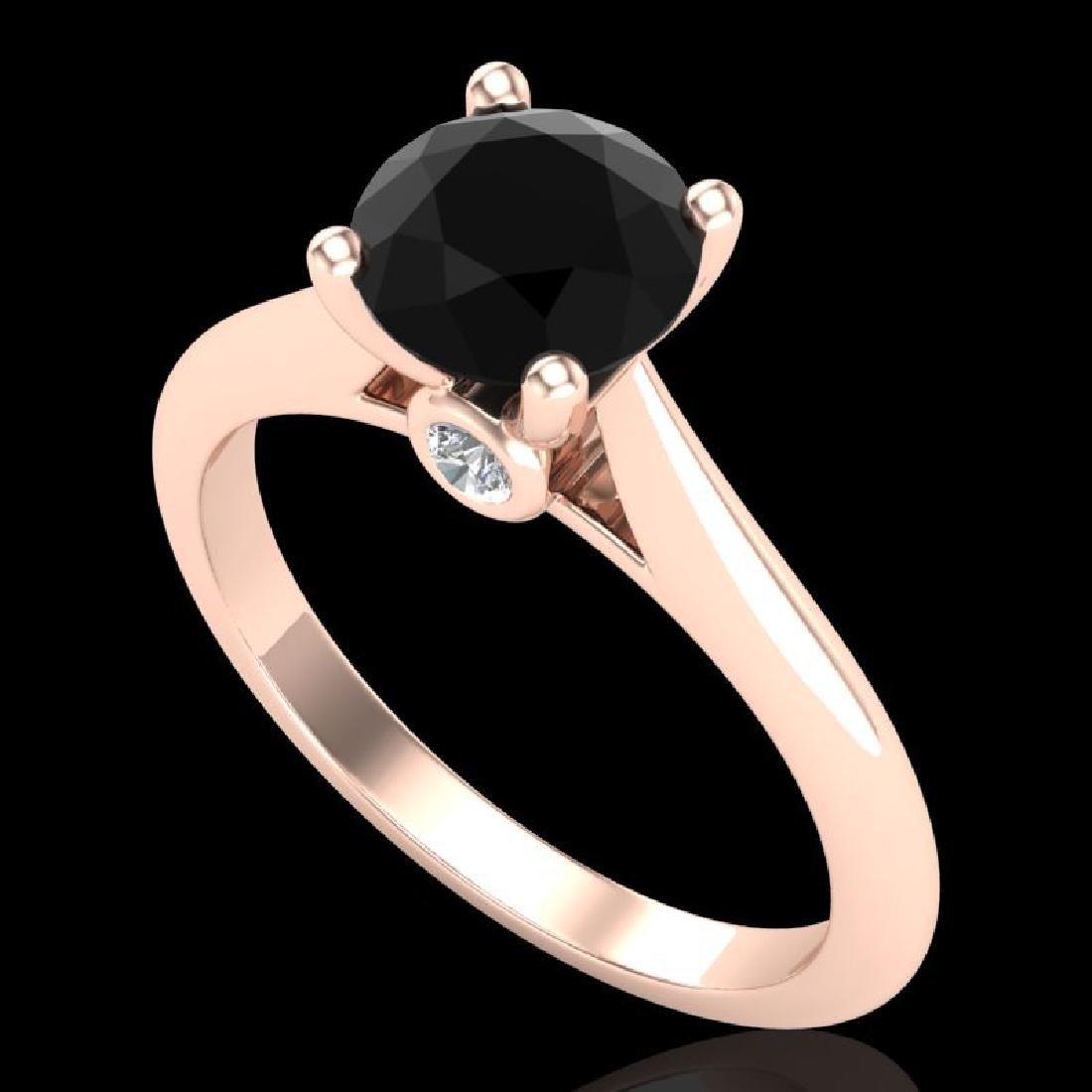 1.36 CTW Fancy Black Diamond Solitaire Engagement Art