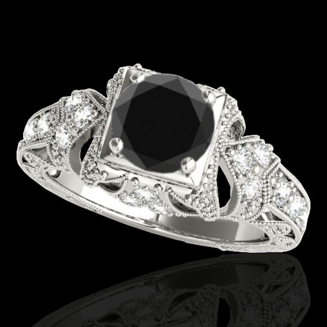 1.25 CTW Certified VS Black Diamond Solitaire Antique