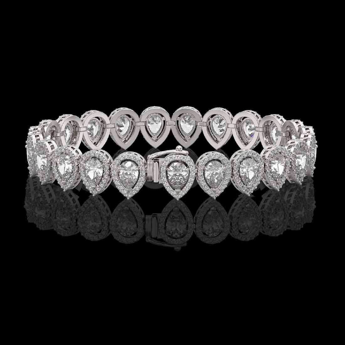 15.85 CTW Pear Diamond Designer Bracelet 18K White Gold - 2