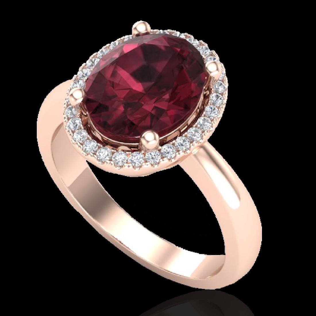 2.50 CTW Garnet And Micro Pave VS/SI Diamond Ring Halo