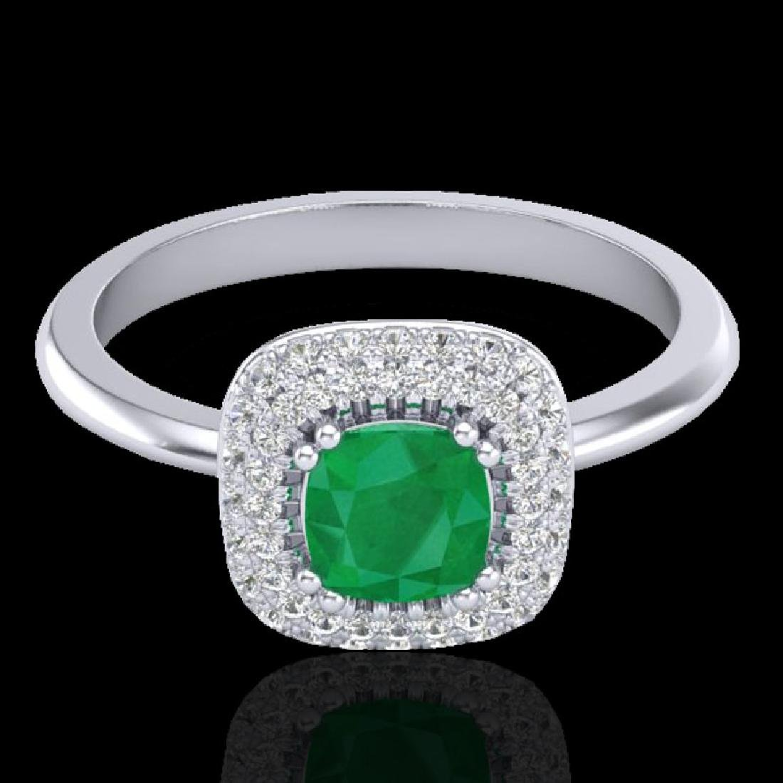1.16 CTW Emerald & Micro VS/SI Diamond Ring Solitaire