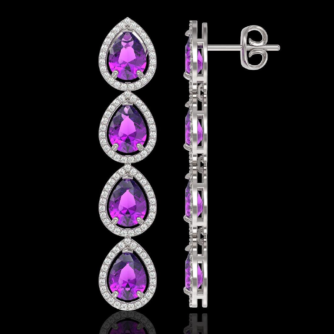 10.85 CTW Amethyst & Diamond Halo Earrings 10K White - 2