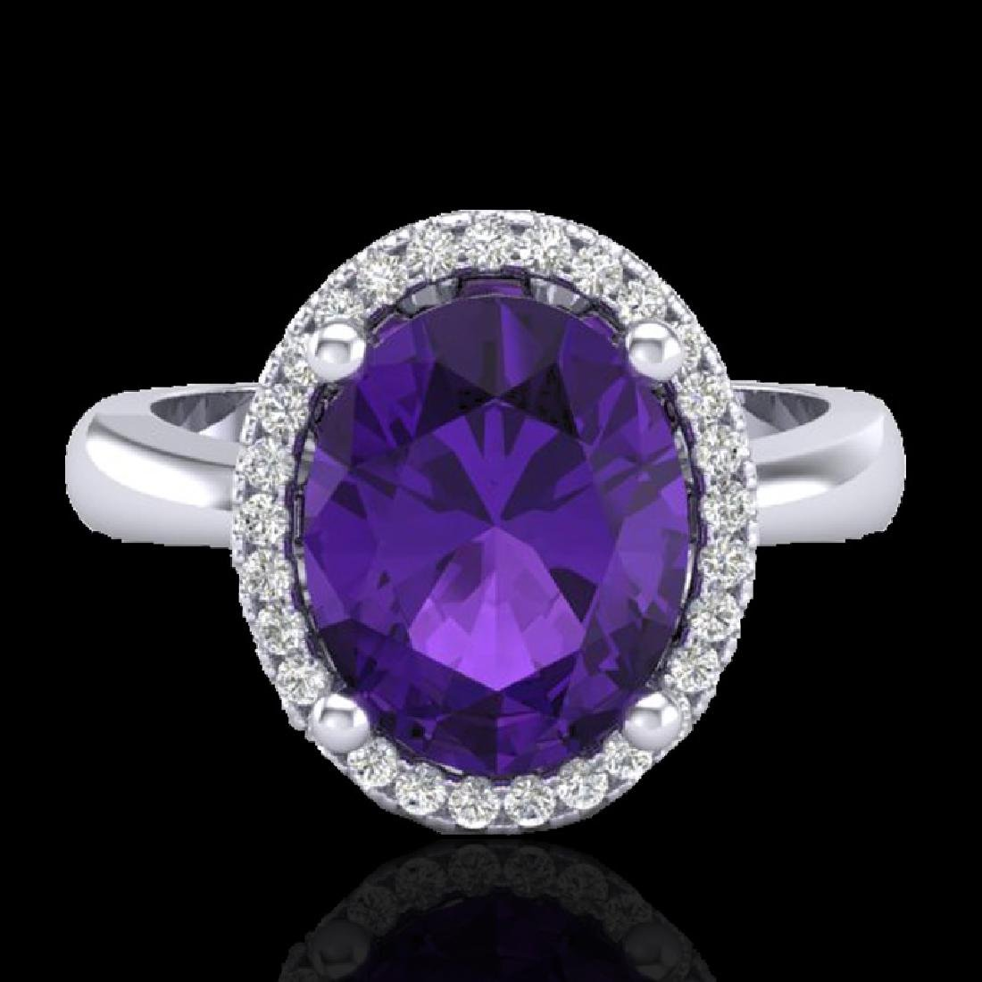 2.50 CTW Amethyst And Micro Pave VS/SI Diamond Ring