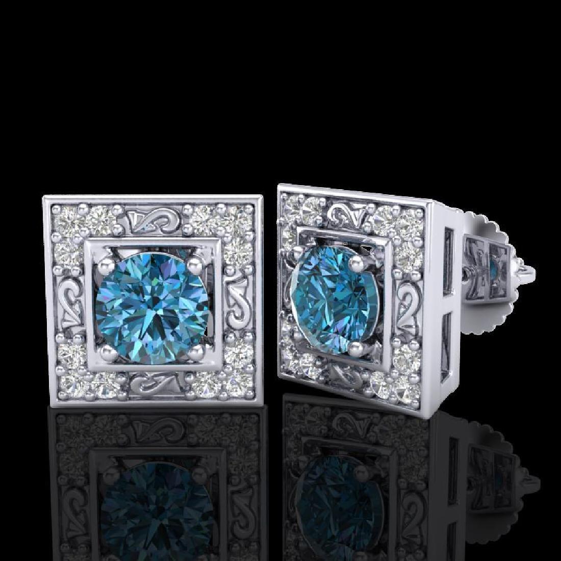 1.63 CTW Fancy Intense Blue Diamond Art Deco Stud - 2