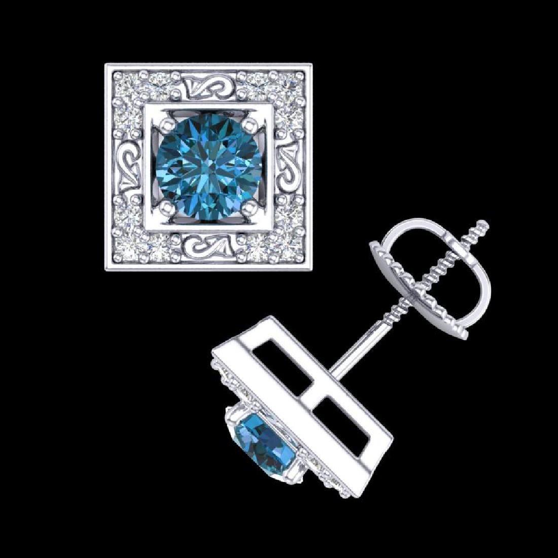 1.63 CTW Fancy Intense Blue Diamond Art Deco Stud - 3