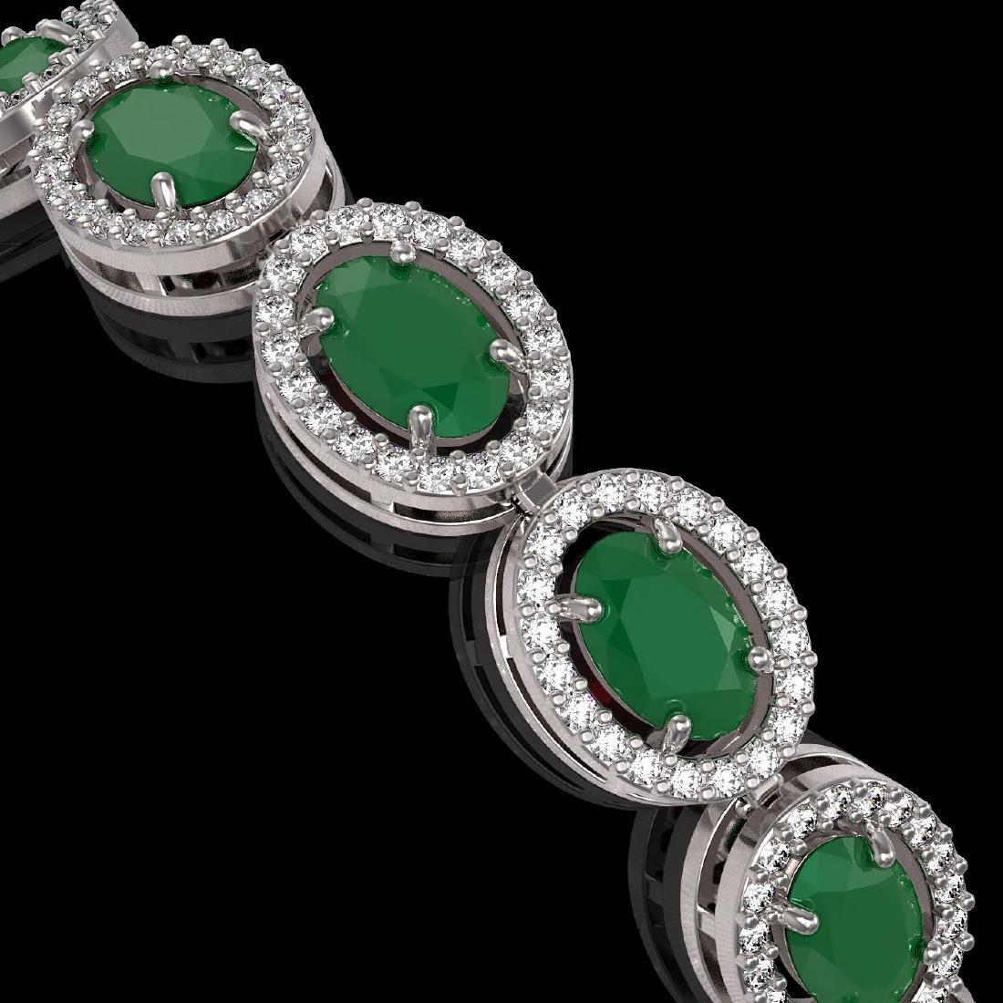 15.2 CTW Emerald & Diamond Halo Bracelet 10K White Gold