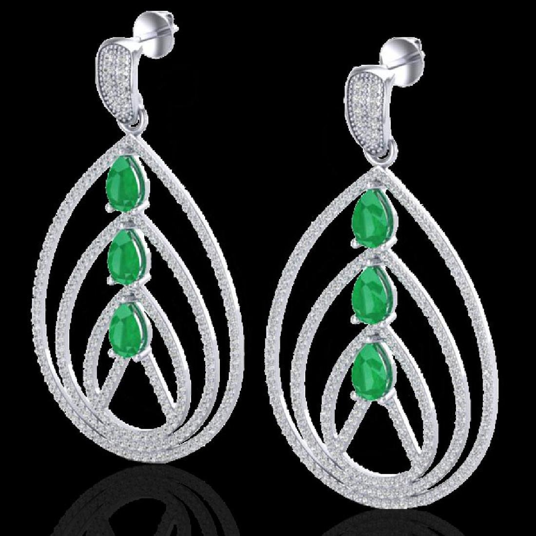4 CTW Emerald & Micro Pave VS/SI Diamond Earrings 18K
