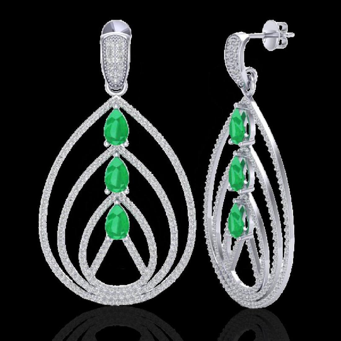 4 CTW Emerald & Micro Pave VS/SI Diamond Earrings 18K - 2