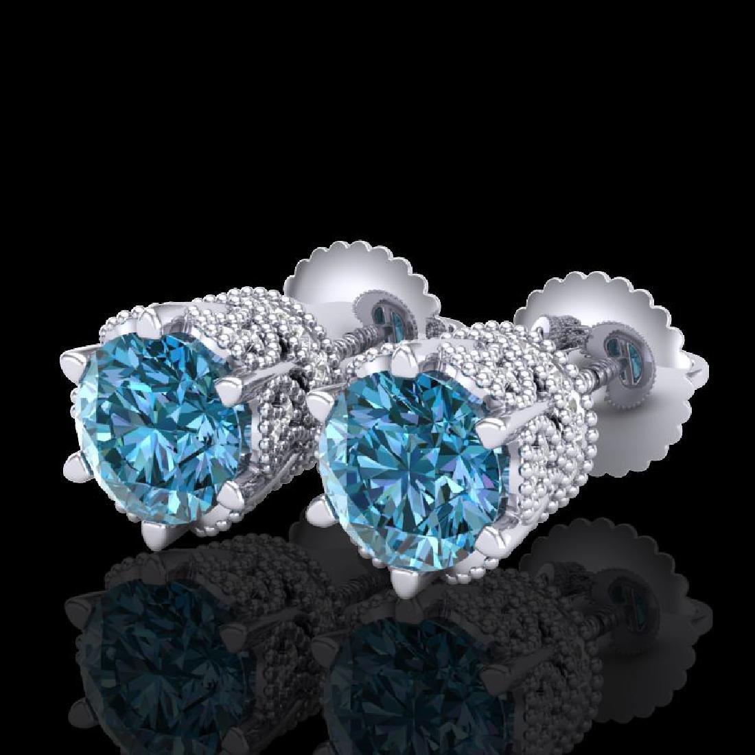 2.04 CTW Fancy Intense Blue Diamond Art Deco Stud